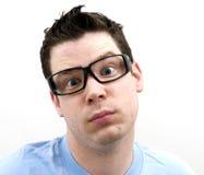 Verticale de mâle avec d'expression étrange Image libre de droits