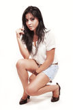 Verticale de mode de jeune femme hispanique mignon Photos libres de droits