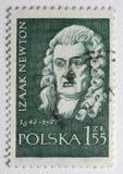 Verticale de monsieur Isaac Newton sur une estampille de poteau Photographie stock