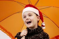 Verticale de Noël de la fille 2 Image libre de droits