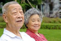 Verticale de père et de grand-mère heureux Images libres de droits