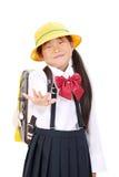 Verticale de petite écolière asiatique Photos libres de droits
