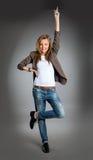 Verticale de plan rapproché d'un jeune femme heureux d'affaires Photos stock