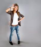Verticale de plan rapproché d'un jeune femme heureux d'affaires Photographie stock