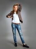 Verticale de plan rapproché d'un jeune femme heureux d'affaires Photographie stock libre de droits