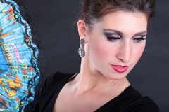 Verticale de plan rapproché de ventilateur de danseur de flamenco Image stock