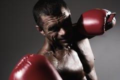 Verticale de plan rapproché d'un boxeur Photographie stock