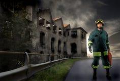 Verticale de pompier Images libres de droits