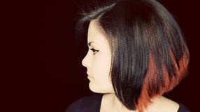 Verticale de profil de jeune femme Photographie stock libre de droits