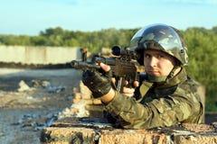 Verticale de soldat Photographie stock