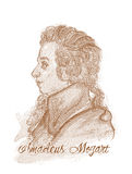 Verticale de type de gravure d'Amadeus Mozart Images stock