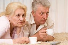 Verticale de vieux couples de sourire Image libre de droits