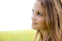 Verticale de visage de plan rapproché de jeune fille Image stock