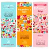 Verticale de Vliegerreeks van Valentine Day Holiday Vector Invitation Royalty-vrije Stock Fotografie
