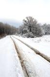 Verticale de winterweg Royalty-vrije Stock Afbeeldingen
