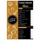 Verticale del menu del camion dell'alimento su oro e sul vettore nero dell'annata di colore illustrazione di stock