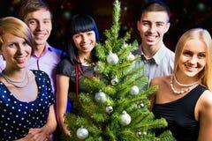 Verticale des amis célébrant Noël Image stock
