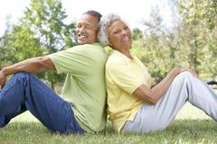 Verticale des couples aînés en stationnement Images libres de droits