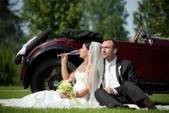 Verticale des couples de mariage Photographie stock
