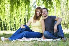 Verticale des couples gais se reposant sur l'herbe photo stock