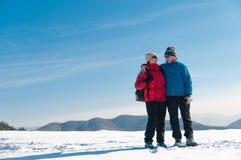 Verticale des couples retirés aînés en hiver Photographie stock libre de droits