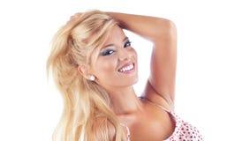 Verticale des femmes blondes merveilleuses Photographie stock