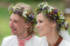 Verticale des nouveaux mariés Images libres de droits