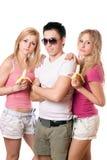 Verticale des trois jeunes Photo libre de droits