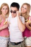 Verticale des trois jeunes assez Image libre de droits