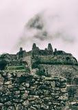 Verticale die mening van een steenstad in aard wordt verloren Stock Foto