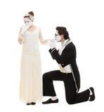Verticale drôle des pantomimes dans l'amour Photographie stock libre de droits