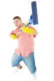 Verticale drôle de nettoyeur debout Photo libre de droits