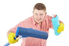 Verticale drôle de nettoyeur debout Image libre de droits