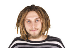 Verticale du jeune homme de dreadlock d'isolement Photos stock
