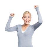 Verticale en buste de fille avec des poings vers le haut Image libre de droits