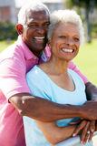 Verticale extérieure des couples aînés heureux Images libres de droits