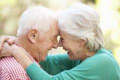 Verticale extérieure des couples aînés heureux Image stock