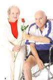 Verticale felice delle coppie di handicap fotografia stock