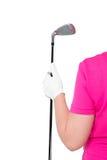 Verticale Foto gloved hand met een golfclub royalty-vrije stock foto