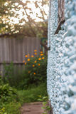 Verticale foto van een steenmuur van een huis in perspectief, I royalty-vrije stock foto