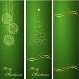 Verticale groene Kerstmisachtergronden Stock Fotografie