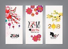 Verticale Hand Getrokken die Banners met Chinese Nieuwjaar 2018 hiëroglief worden geplaatst: Hond stock illustratie