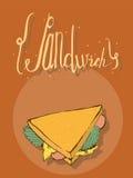 Verticale hand getrokken illustratie met smakelijke sandwich en het van letters voorzien op bovenkant De oranje achtergrond, lich Stock Foto