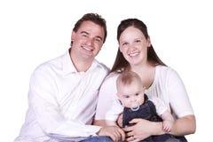 Verticale heureuse de famille avec la mère, le père et le fils Image libre de droits