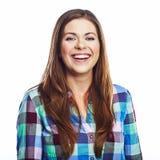 Verticale heureuse de femme Fille de sourire Fond blanc Images stock