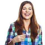 Verticale heureuse de femme Fille de sourire Fond blanc Photographie stock libre de droits