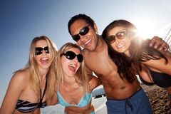 Verticale heureuse de plage Photo stock