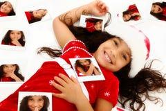 Verticale hispanique de Noël d'enfant d'Afro-américain photographie stock libre de droits