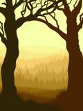 Verticale illustratie binnen bos. Royalty-vrije Stock Fotografie