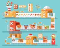 Verticale illustratie van geïsoleerde transportband voor productie en verpakkingssuikergoed, lollyssnoepjes, in vlakke stijl Stock Foto